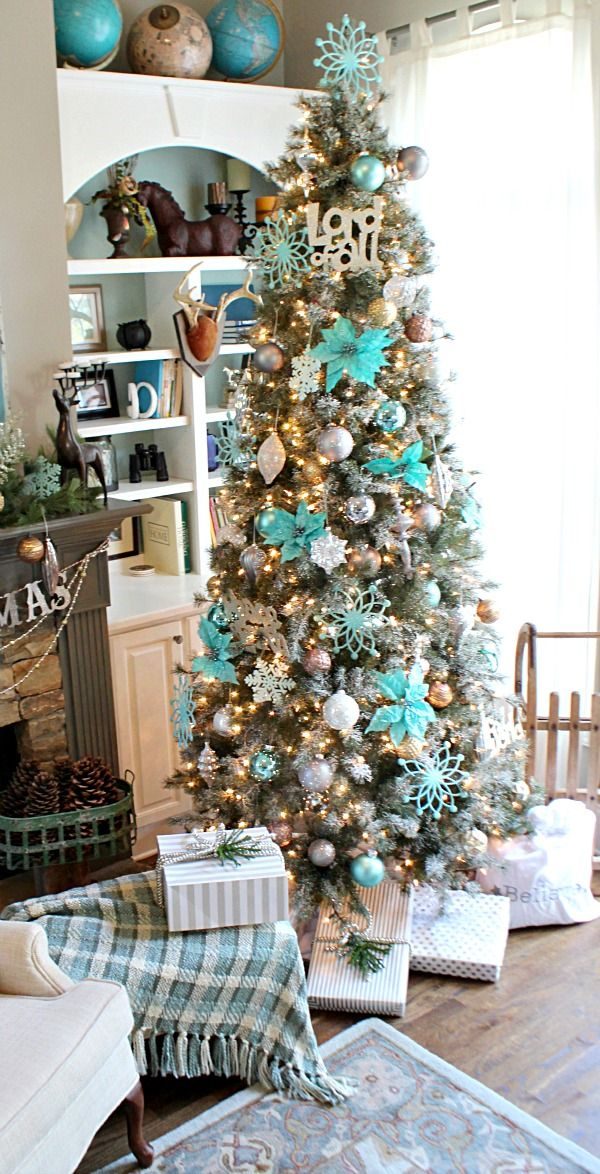 Merry Holidays! Pretty Aqua & Turquoise Blues Frosted Sparkly Snow Dusted Christmas Tree from Balsam Hill