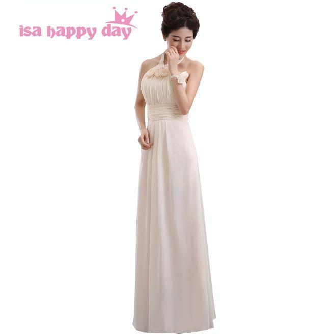chiffon brides maid halter neck dresses bridesmaids gowns cute champagne  bridemaid long length a line dress 1d136b386239