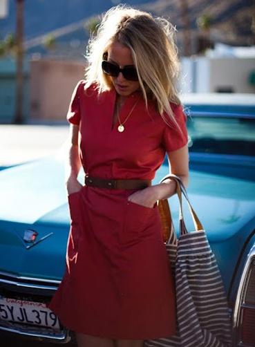 red shirt dress & shades- Emerson