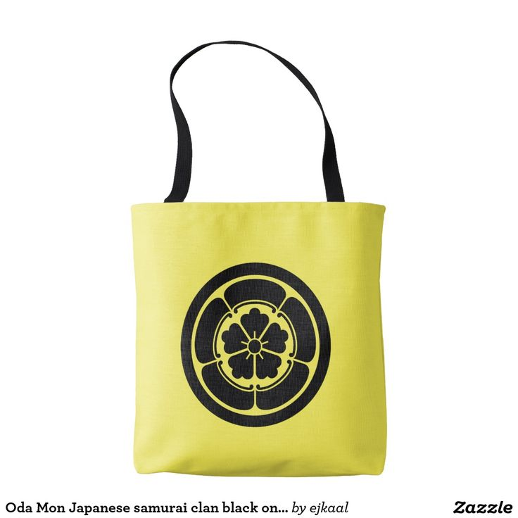 Oda Mon Japanese samurai clan black on yellow Tote Bag