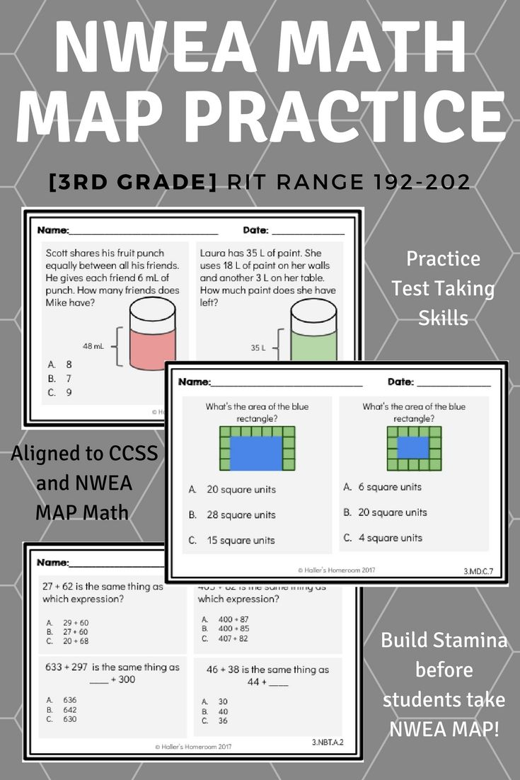 Nwea Map 3rd Grade Math Practice Questions Rit 192 202 Classroom