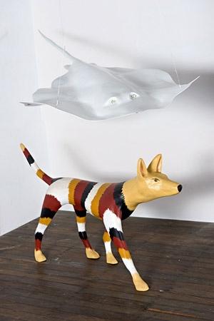 Lin Onus & Michael Eather The ongoing adventures of X & Ray ed 3/3 2001-2010 acrylic on hardwood; fibreglass, automative paint & glass 170x150x310cm FW14022