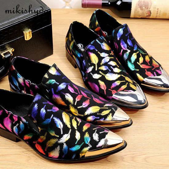 ==> [Free Shipping] Buy Best Newest Arrival Feather Print Italian Men Wedding Shoes Brogues Homme Leather High Heels Mans Footwear Prom Dress Sparking Oxford Online with LOWEST Price | 32815556780