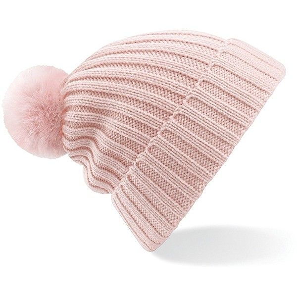 Beechfield Womens/Ladies Arosa Winter Bobble Beanie Hat ($9.45) ❤ liked on Polyvore featuring accessories, hats, knit hat, knit beanie caps, beanie cap hat, pink hats and beanie caps