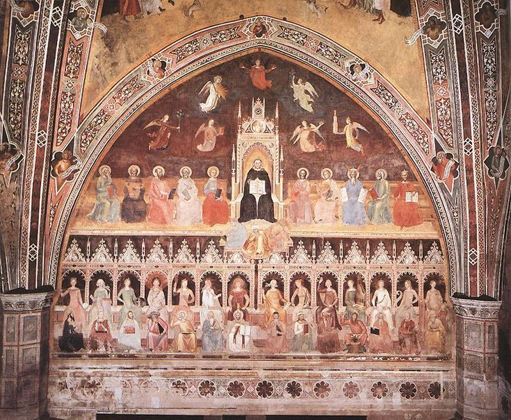 Triunfo of San Thomas y alegoría of las ciencias, frescos de Andrea Di Bonaiuto (Andrea Da Firenze) (1343-1415, Italy)
