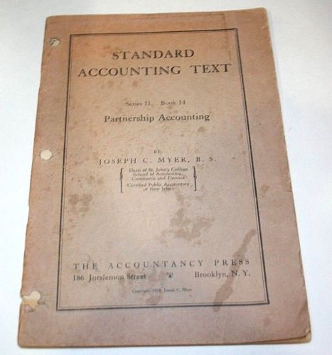 1920s-Accounting-Text-Book-Partnership-Rules-Business-Corp-Law-Meyer-CPA-Vtg