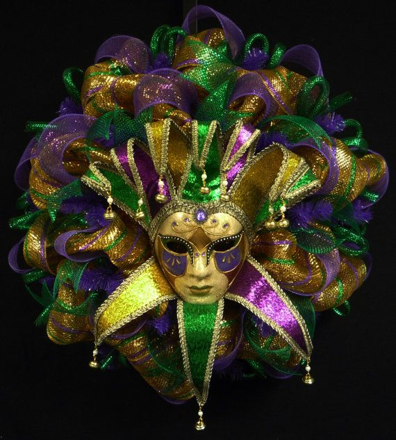 Mardi Gras Jester Mask Wreath Goes up on Jan 6 (kings day) and comes down Ash Wednesday
