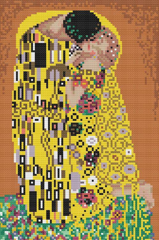 The Kiss by Klimt Cross Stitch Pattern PDF Chart Famous Painting Modern Art