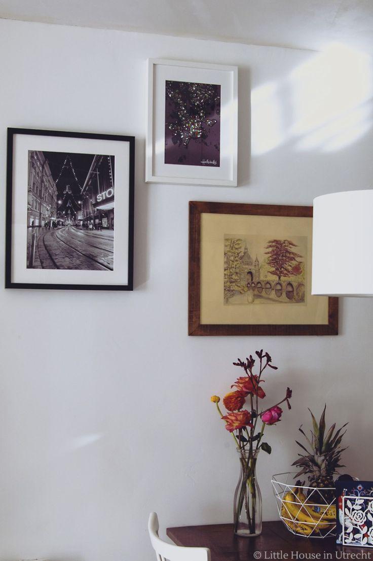 gallery wall, art, photos, flowers, fruit, helsinki