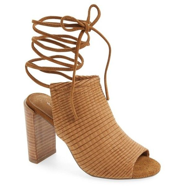 """Urge Footwear 'Eve' Lace-Up Mule Sandal, 4"""" heel ($170) ❤ liked on Polyvore featuring shoes, sandals, tan leather, wrap sandals, leather sandals, tan high heel sandals, leather high heel sandals and tall sandals"""