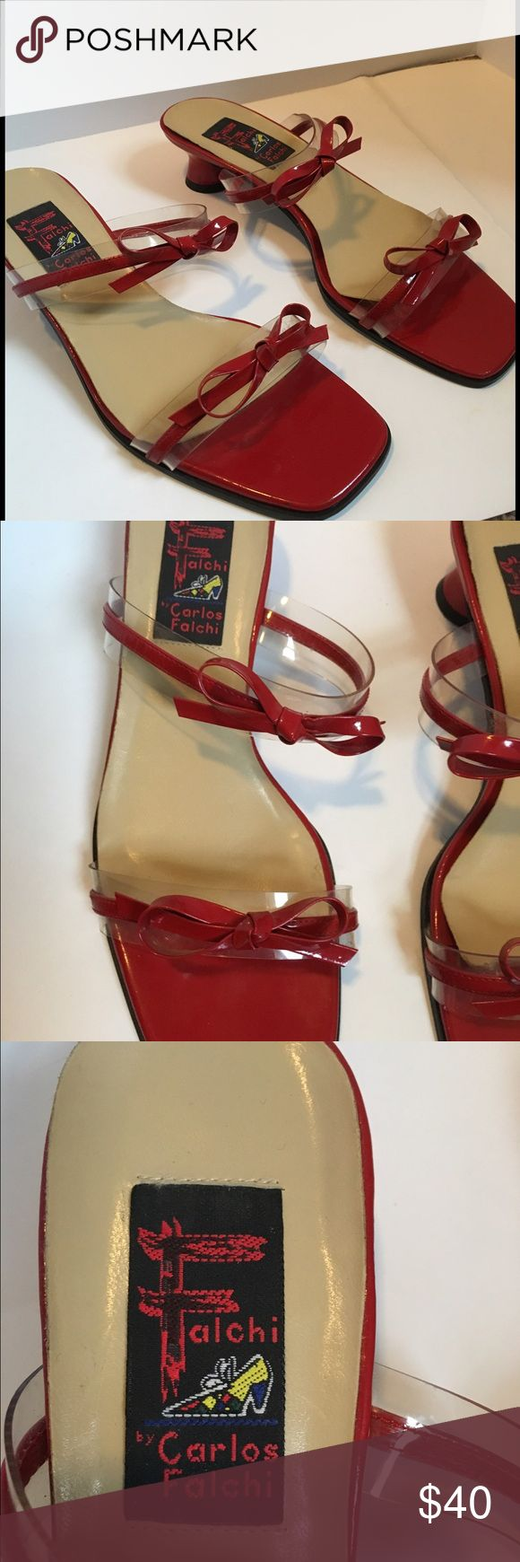 Vintage Carlos Falchi red leather & vinyl mules Vintage red leather/vinyl Carlos Falchi mules. Clear vinyl underneath bow straps. Barely any wear at all! May never have been worn!❤ Carlos Falchi Shoes Mules & Clogs