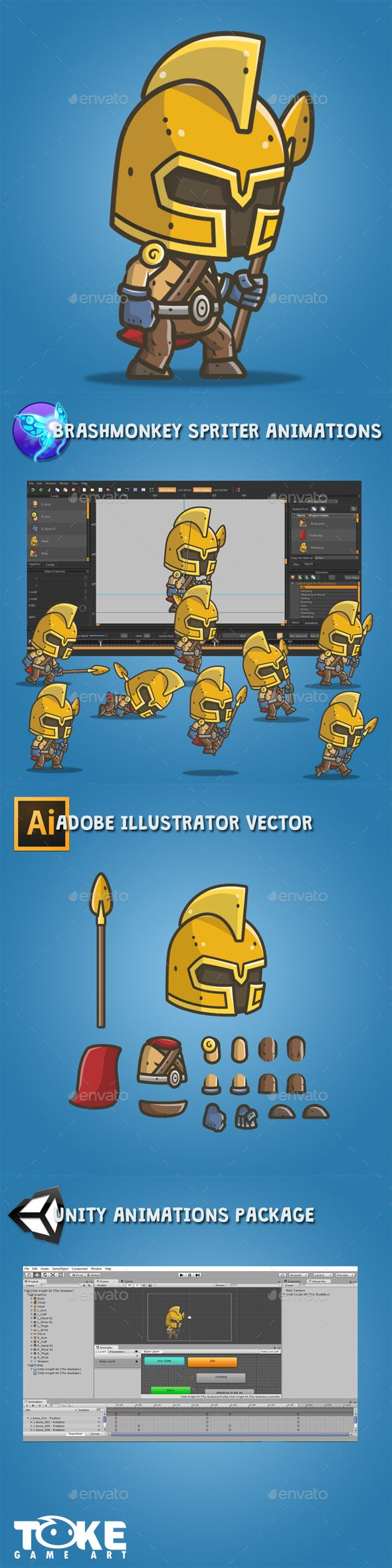 Chibi Knight – The Gladiator — Vector EPS #brashmonkey #Tokegameart • Available here → https://graphicriver.net/item/chibi-knight-the-gladiator/18177515?ref=pxcr