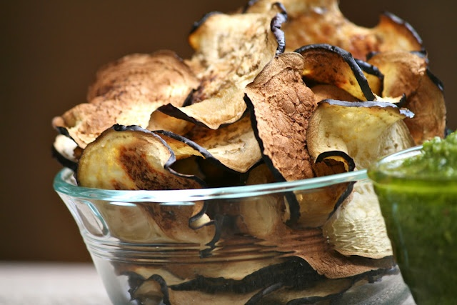 eggplant chips with cilantro pesto.   antipasto.   Pinterest