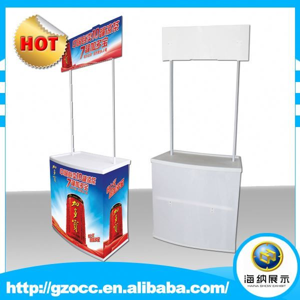 custom factory high quality trade show pop up demo stand portable supermarket pp plastic sales promotion table with good price