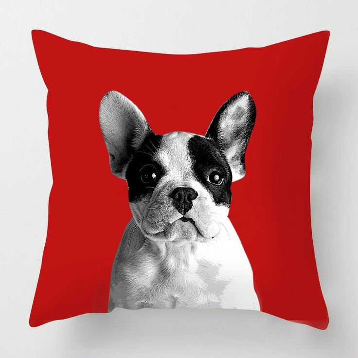 French bulldog cushion on a red background http://www.artylicious.co.uk/cushions/typography-cushions/french-bulldog-cushion.html