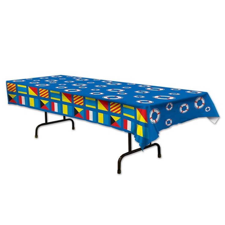 "Pack of 12 Blue Nautical Flags Rectangular Table Cover 54"" x 108"""