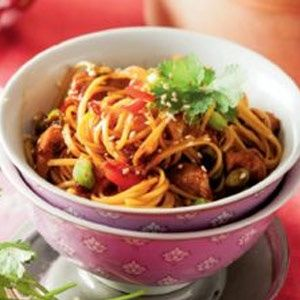 Soy sauce and honey chicken stir-fry with egg noodles