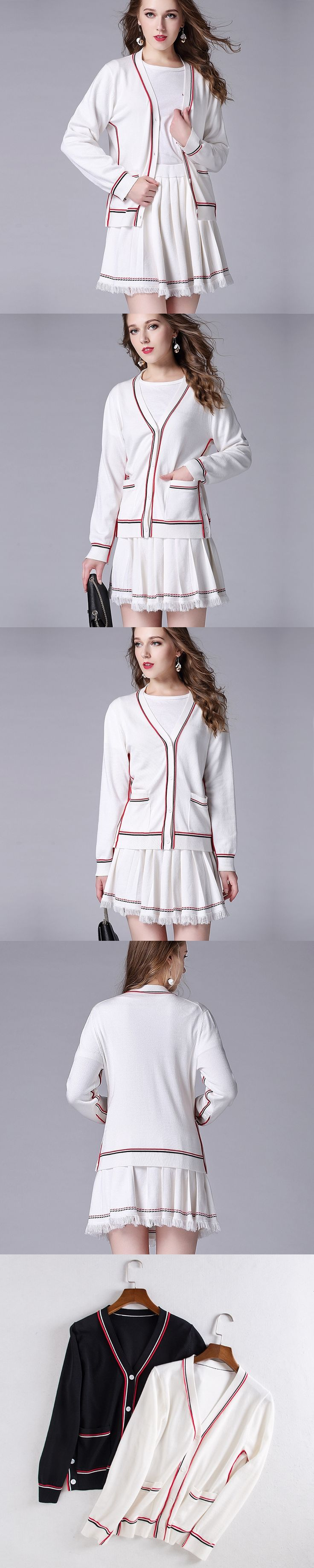 early autumn new knitting cardigan V collar female slim striped wind hit color sweater+tassel skirt suit women two pieces set