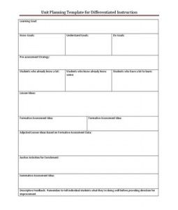 Lesson plan template includes differentiation planning for Lesson plan template for differentiated instruction