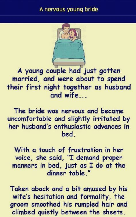 A young nervous bride   Adult dirty jokes   Funny jokes, Husband humor, Adult  dirty jokes