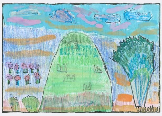 """A View from a Hill by Timothy S., Grade 1. This artwork (originally sized at 6""""x10"""") was chosen to be reproduced as a 20""""x 30"""" poster for his school's fundraiser.   Timothy's Artist Statement: """"I chose these certain kinds of colours because they made me happy. The outlines are for everything to stand out."""""""