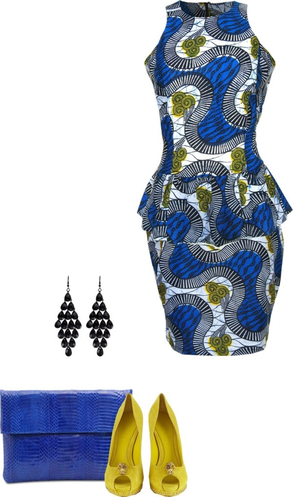 """African Print Peplum Ensemble"" by psstyleandgrace.com"