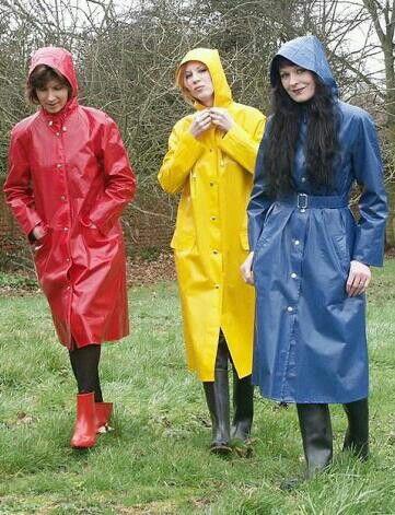 3 colourful raincoats