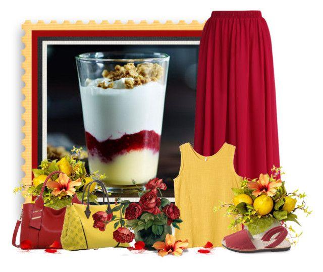 """greek yogurt raspberry lemon parfait"" by tinkertot ❤ liked on Polyvore featuring Chicwish, LineShow and Louis Vuitton"