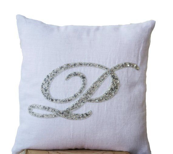 Monogrammed Pillow Cover Monogram Pillow Decorative Pillow With