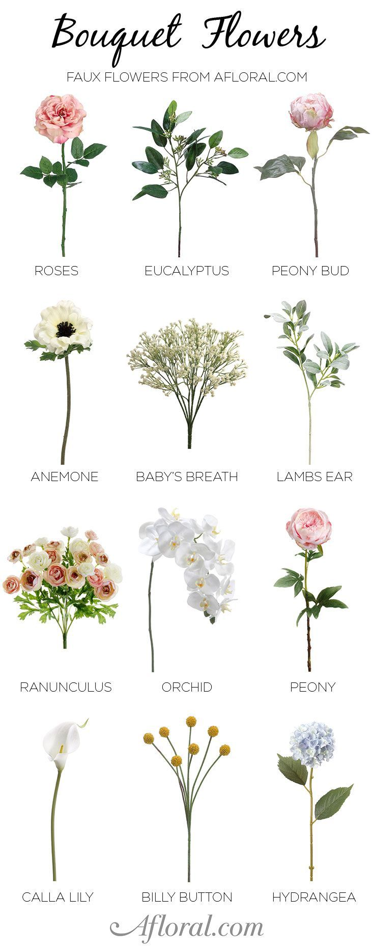 DIY Wedding Bouquets start with high-quality artificial flowers from Afloral.com.  Shop for affordable, long-lasting silk flower stems and find easy DIY tutorials.