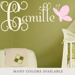Butterfly Dreams Personalized Wall Decal. Perfect for a nursery!!