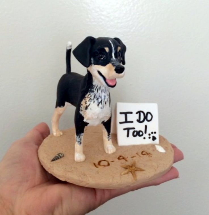 Standing dog at the beach wedding cake topper