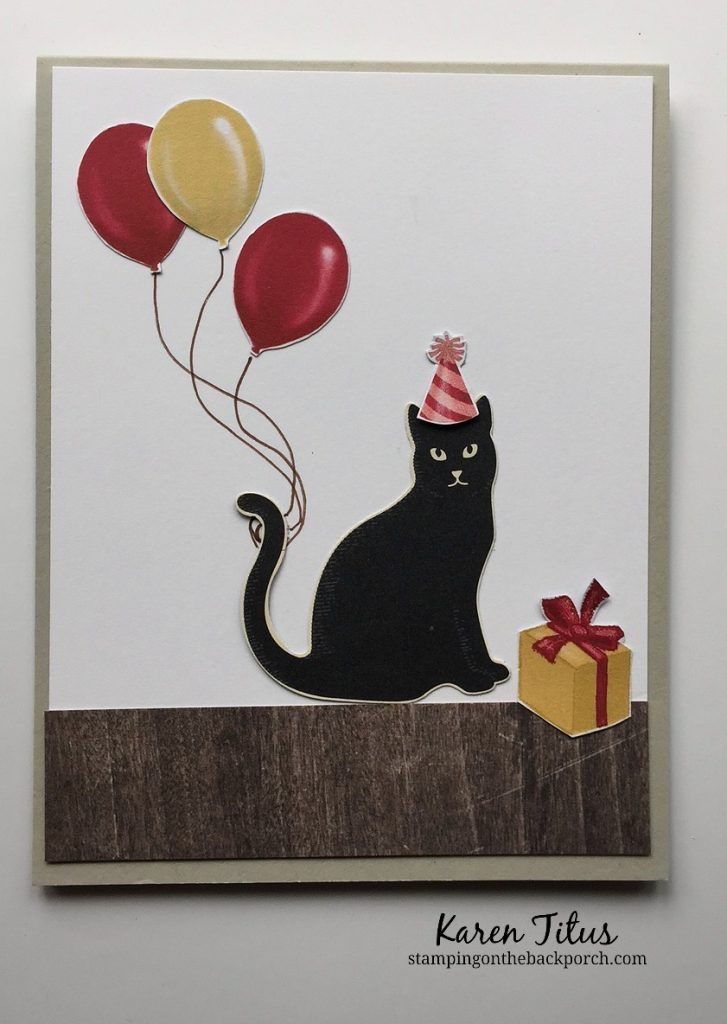 cute kids birthday card with a cat & balloons & more