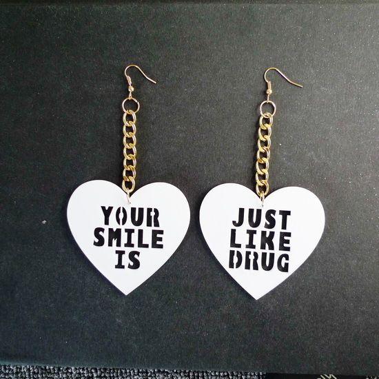 280E  Gold Mirror Acrylic Heart your smile JUST LIKE DRUG Long Dangle Earrings   Hot sale drop earrings for pretty women