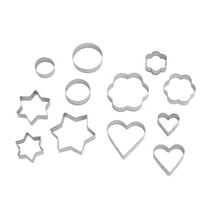 Set 12 cortadores de galleta de acero inoxidable con diferentes formas.