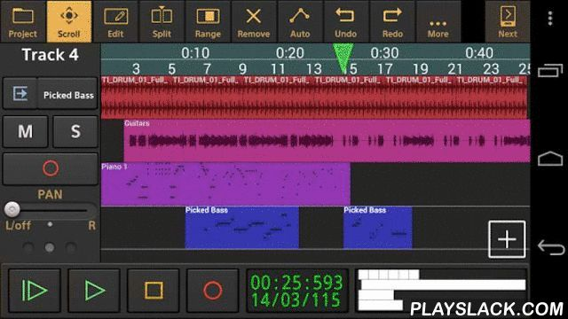 Audio Evolution Mobile DEMO  Android App - playslack.com ,  De krachtigste meersporen geluids- en MIDI opnamestudio op Android met ondersteuning voor meer dan 250 USB geluidskaarten en MIDI interfaces (*), virtuele instrumenten(*), bewerkingen met onbeperkt ongedaan maken/herhalen, mengen, real-time effecten, automatisering en nog veel meer! Neem uw stem, gitaar, piano of geluid van elke willekeurige geluidsbron op of maak beats en instrument sporen m.b.v. een piano roll of extern MIDI…