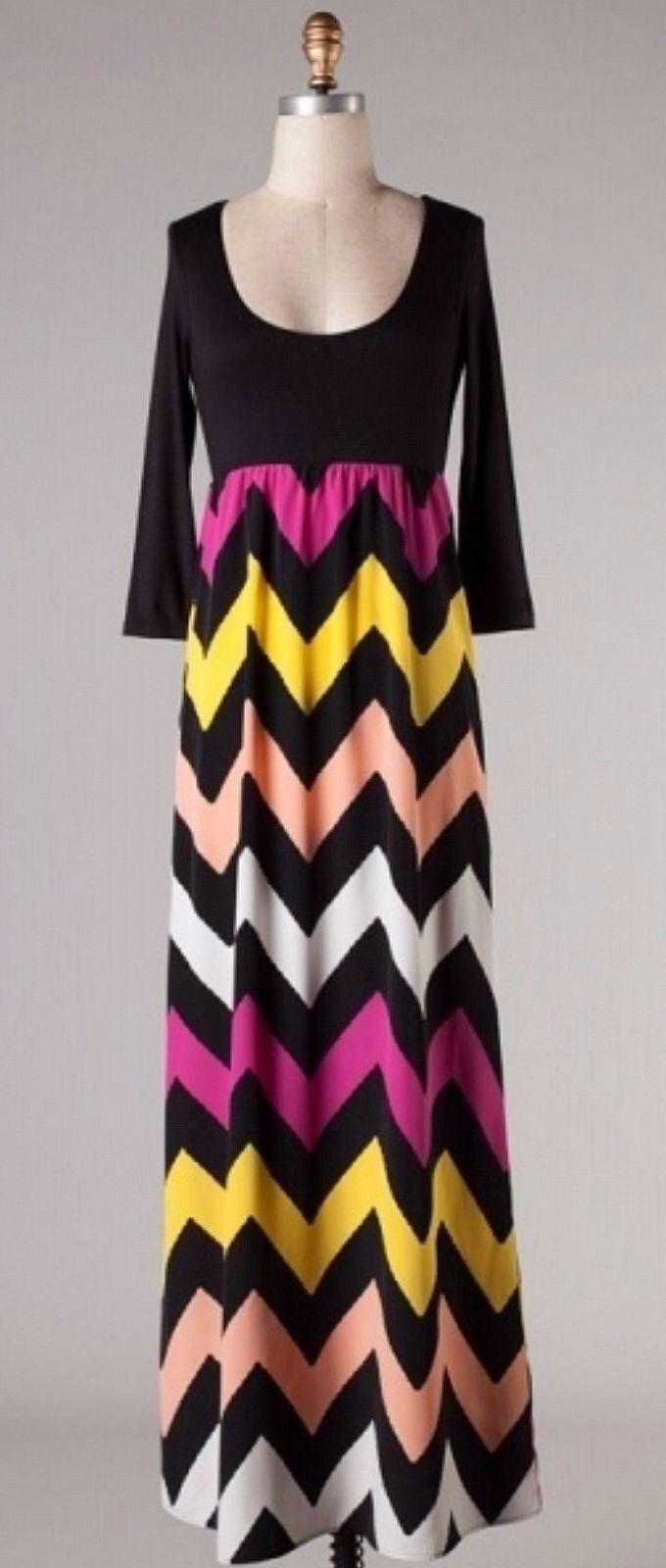 Purple and yellow chevron maxi dress