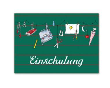 Postkarte Einschulung grün