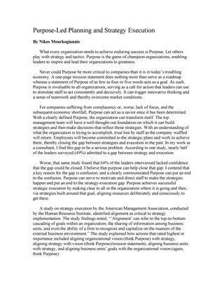 """#ΝίκοςΜουρκογιάννης: Άρθρο """"Purpose led planning and strategy execution"""""""