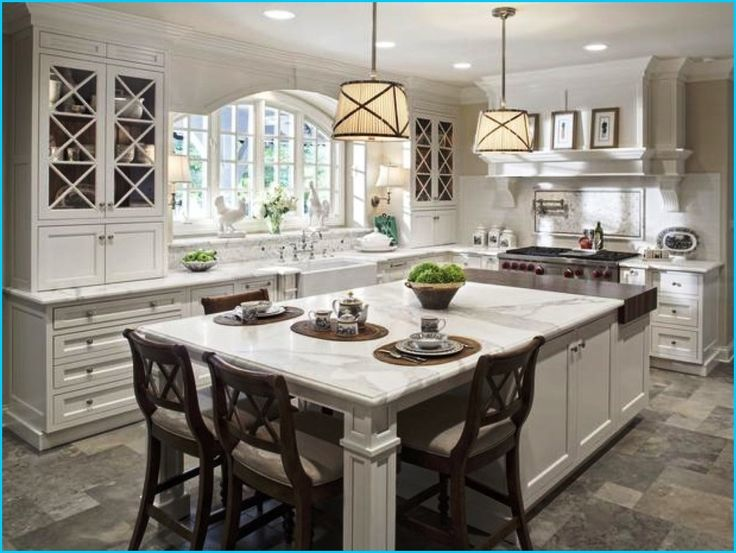 Love the huge island with butcher block white kitchen island design island  seating island leg post design white marble countertops butcher block island  wall ...