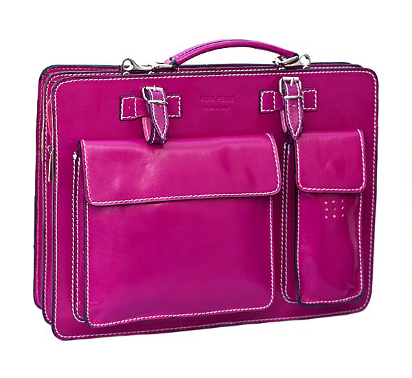Kenneth Brownne Ladies Fuchsia Coloured Briefcase / Satchel. Made from georgous Itailan hide leather perfect for the office. Free UK P&P at Just4leather