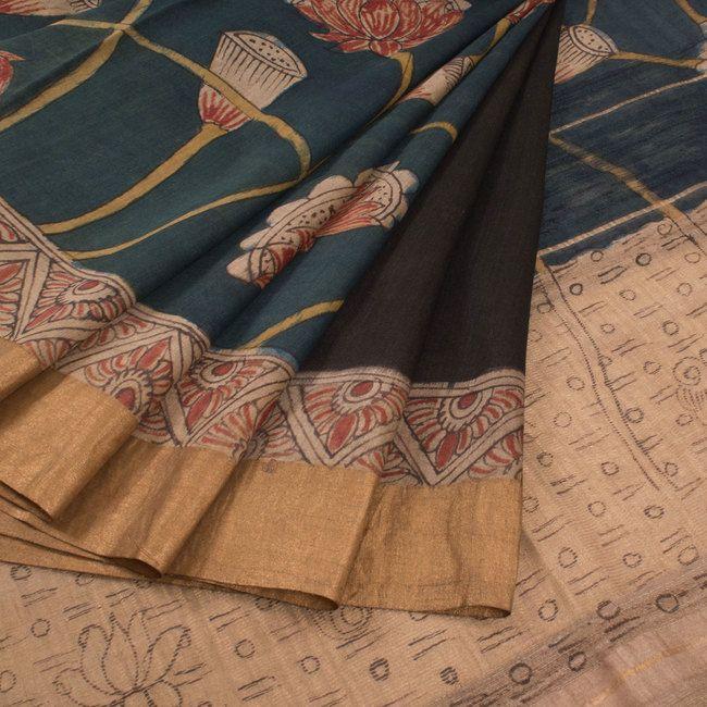 Hand Painted Pen Kalamkari Half & Half Tussar Silk Saree With Lotus Motifs & Zari Border 10015848 - AVISHYA.COM