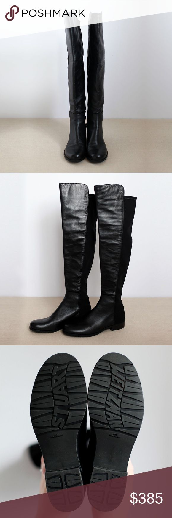 Stuart Weitzman 5050 Boot Like New, Over the Knee, Black Leather, Low Heel Boot Stuart Weitzman Shoes Over the Knee Boots