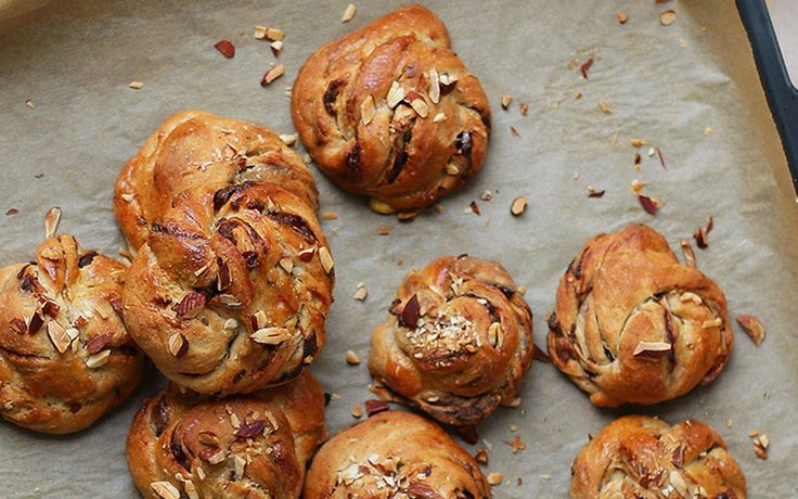 These cinnamon buns are sweetened naturally with dates and are made from a hearty sourdough spelt four that gives them a rich, full flavor.