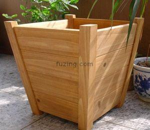 Wooden planter box garden planter wooden box for Tapered planter box plans