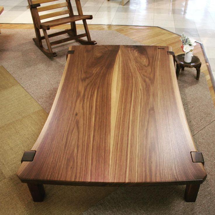 ブックマッチ二枚接ぎの座卓&ロッキングチェア。  #木工房ひのかわ#三代目#無垢材#ウォールナット#家具#家具工房#オーダー家具#furniture#woodworking #CenterTable#woodwork#japanesestories#livingTable#ディスプレイ#walnut#japan#ブックマッチ#道具#リビング#インテリア#2016年5月28日#九州#木工#八代#熊本#座卓#interior#デザイン#design#ロッキングチェア