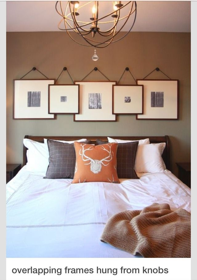 Overlapping Frames allows for more frames to be placed on the wall—yet remain centered and balanced over the bed. You could use ribbon, twine or rope depending on your decor.
