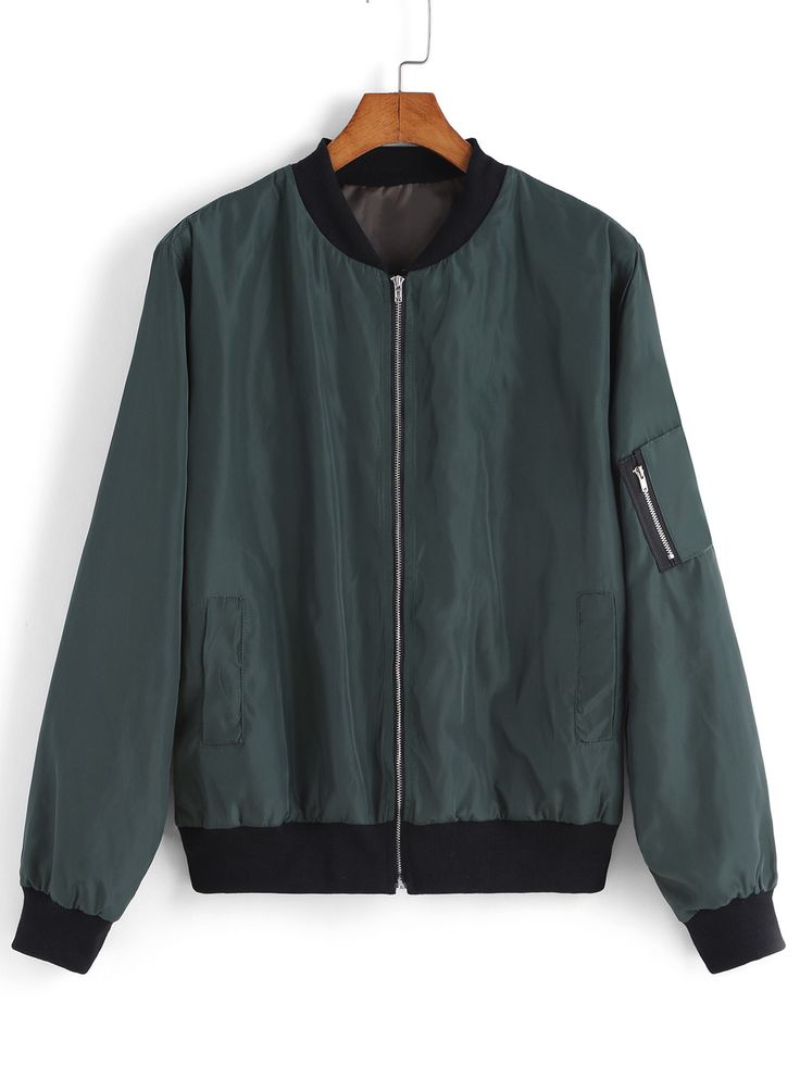 Shop Green Stand Collar Zipper Jacket online. SheIn offers Green Stand Collar Zipper Jacket & more to fit your fashionable needs.