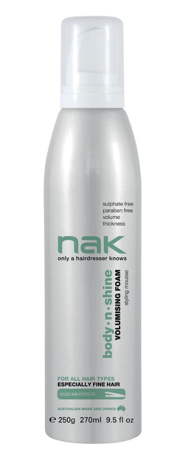 nak body.n.shine volumising foam / designed for all hair types especially fine hair #sulphatefree #parabenfree #volume #thickness