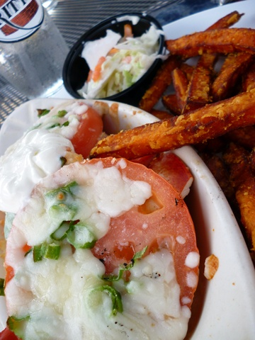 Dockside Restaurant, Belfast Maine for the Lobster Melt (big pieces of claw meat), with crispy sweet potato fries and perfect coleslaw on the side. Delicious!